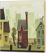 Seamless Neighborhood Wood Print