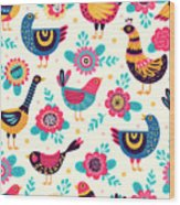 Seamless Pattern With Birds And Wood Print