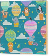 Seamless Pattern With Colorful  Hot Air Wood Print