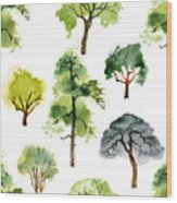 Seamless Pattern With Watercolor Trees Wood Print