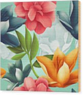 Seamless Tropical Flower, Plant Pattern Wood Print