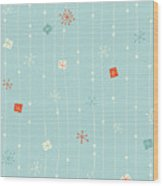 Seamless Vintage Winter Pattern Wood Print