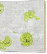 Seasons Greetings - Frosty White With Chartreuse Accents Wood Print