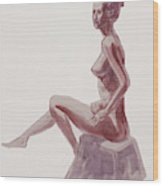 Seated Nude Woman Watercolor Wood Print