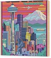 Seattle Poster - Pop Art Skyline Wood Print