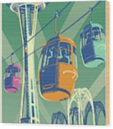 Seattle Poster- Space Needle Vintage Style Wood Print
