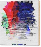 Seattle Skyline Brush Stroke Watercolor   Wood Print