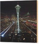 Seattle Skyline Laser Show Wood Print