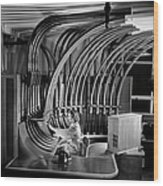 Secretary With Pneumatic Tube Wood Print