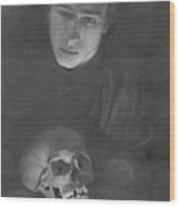 Self-portrait With A Scull Wood Print