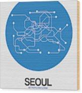 Seoul Blue Subway Map Wood Print