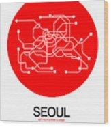 Seoul Red Subway Map Wood Print