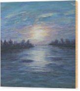 Serene River Sunset Wood Print