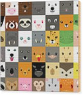 Set Of Cute Simple Animal Faces Wood Print