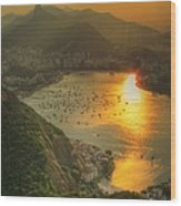 Setting Sun Over Botafogo Wood Print