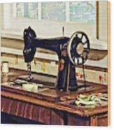 Sewing Machine In Kitchen Wood Print