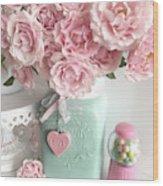 Shabby Chic Pink Roses In Aqua Mason Jar Romantic Cottage Floral Print Home Decor Wood Print