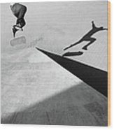 Shadow Of Skateboarder Wood Print