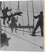 Shadows & Silhouttes Of Shipyard Wood Print