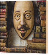 Shakespeare With Old Books Wood Print