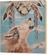 Shaman Mask And Wolf Wood Print