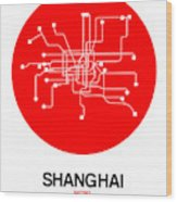 Shanghai Red Subway Map Wood Print