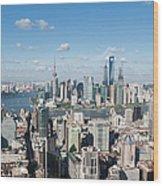 Shanghai Skyline Across The Huangpu Wood Print