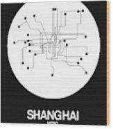 Shanghai White Subway Map Wood Print