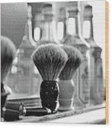 Shaving Brushes At Barbershop Wood Print