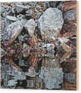 Shawanaga Rock And Reflections Vi Wood Print