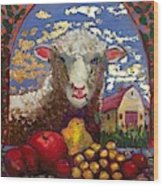 Sheep and Farm Wood Print