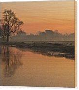 Sheep Sunrise Wood Print