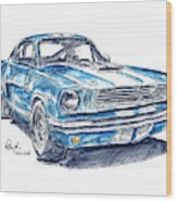 Shelby Mustang Gt350 Classic Car Ink Drawing And Watercolor Wood Print