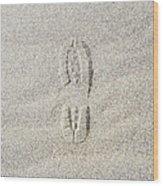 Shoe Print In Sand Wood Print