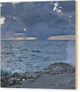 Shoreline Rain Clouds Wood Print