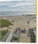 Shoreline Staircase By Uscg Station Chatham Cape Cod Massachusetts Wood Print