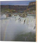 Shoshone Falls Rainbow Wood Print
