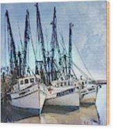 Shrimp Boats At Darien Wood Print