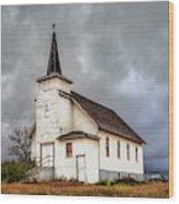 Shuttered Church In Cartwright North Dakota Wood Print