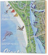 Siesta Key Illustrated Map Wood Print