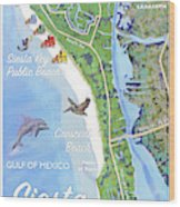 Siesta Key Illustrated Map With Green Lifeguard Station Wood Print