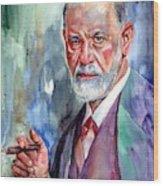 Sigmund Freud Portrait II Wood Print