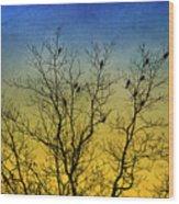 Silhouette Birds Sequel Wood Print