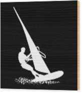 Silhouette Of A Sportsman Doing Windsurfing On His Board With Sail Wood Print