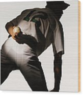 Silhouette Of Baseball Pitcher Holding Wood Print