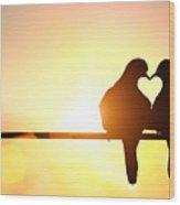 Silhouette Of Bird In Heart Shape On Wood Print