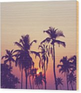 Silhouette Of Palm Trees At Sunset Wood Print