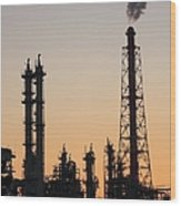 Silhouette Of Petrochemical Plant Wood Print