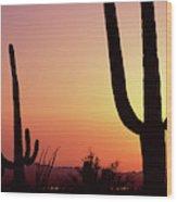 Silhouette Of Saguaro Cacti Carnegiea Wood Print