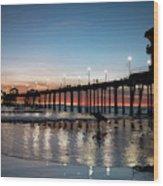 Silhouette Of Surfer At Huntington Wood Print